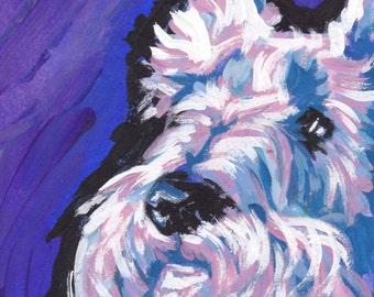 "white Scottish Terrier Scottie art print pop dog art bright colors 13x19"" LEA"