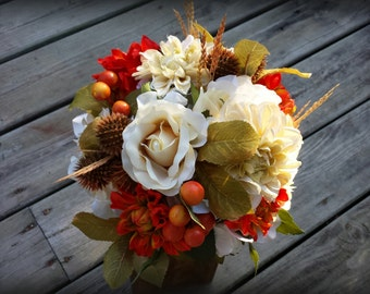 Rustic Fall Wedding Bridal Bouquet orange ivory burlap and lace wedding flowers