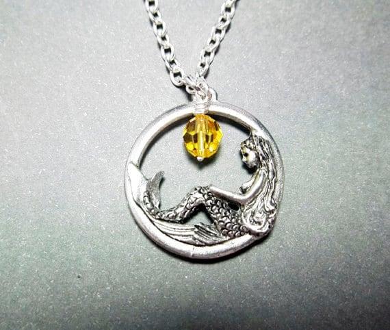 SALE...Mermaid Necklace Black Friday Women's Christmas Gift Topaz November Birthstone Mom Girlfriend Friend Grandma Sister