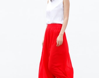 On Sale Size M Fairy Casual Chiffon Wide leg Long Skirt Pants in Red - NC460-2
