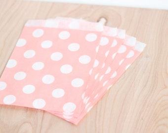 Paper Candy Bags 200 Count Blush Pink Polka Dot, 5x7 Merchandise, Wedding Favor, Candy Buffet, Gift Bag, Bridal or Baby Shower Party Bags