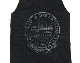 American Apparel SUPER SOFT Vintage Feel Unisex Tri-Blend Tank - Cleveland City Seal in Shimmer White on Black