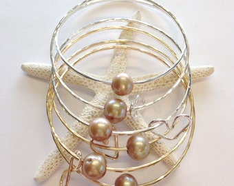 Taupe freshwater pearl bangles in sterling silver and 14kt gold fill