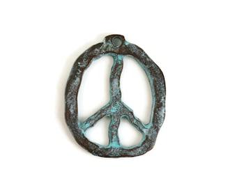 Mykonos Peace Sign Pendant - Green Patina - 27x33mm - Large Rustic Peace Sign Pendant