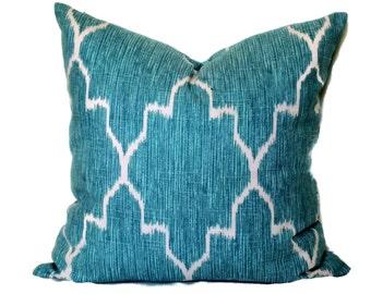 Ice Blue and Cream Lattice Decorative Pillow Covers 18x18, 20x20, 22x22 or 14x20 Lumbar Pillow Accent Pillow Ikat Pillow Pillow Sham