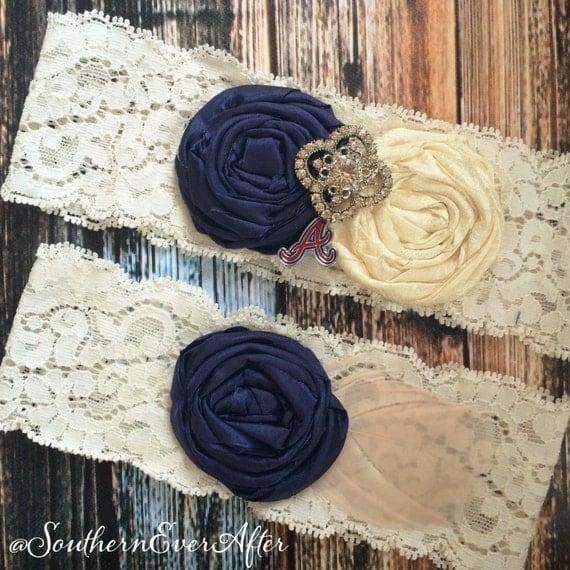 SPORTS GARTER set / You choose colors / Wedding garter set / lace garter / toss garter / Something Blue wedding garter / vintage
