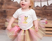 Pink and Yellow Giraffe Themed Birthday Tutu Outfit, Giraffe Birthday Tutu Set, First Birthday Giraffe Party *Bow NOT Included*