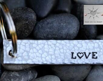 Custom Hand Stamped Keychain - Personalized Keychain - Wedding Gift - Anniversary Key Chain - LOVE - Valentine's Day Gift