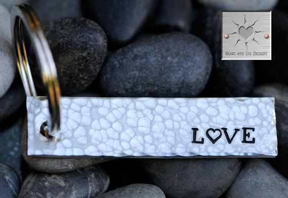 Custom Hand Stamped Keychain - Personalized Keychain - Wedding Gift - Anniversary Key Chain - LOVE - Valentine's Day Gift