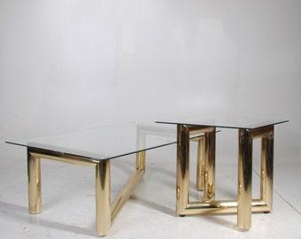 REDUCED!! Karl Springer Brass Table Set