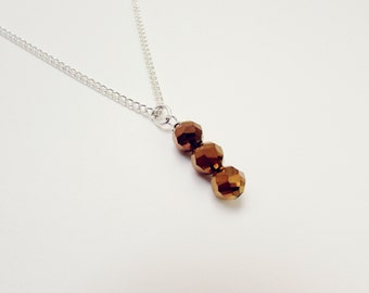 Brown Crystal Bead Necklace