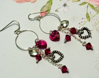 Pink Heart Earrings, Valentine Earrings, Heart Earrings, Holiday Earrings, Swarovski Earring, Valentine Jewelry, Heart Jewelry, Hoop Earring