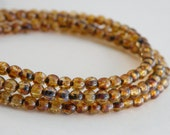 Amber brown Picasso finish Czech Druk glass round beads 4mm ND4-38