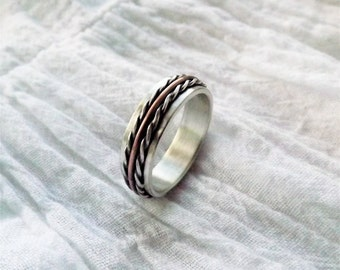 Copper & Silver Ring - Handcrafted in Argentium Silver - Twisted Rope Ring - Custom Sized Ring