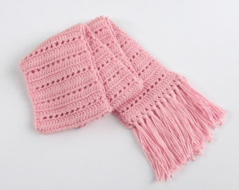 Pink Neck Scarf with Pink Fringe for Women and Girls
