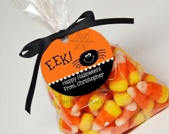 Personalized Halloween Spider Favor Tag - Eek! - DIY Printable Digital File