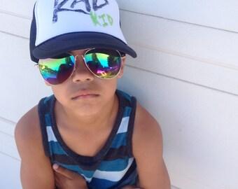 Rad Kid Trucker Hat, Hand-stamped, Toddler, Youth, Boy, Girl