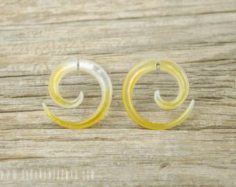 Fake Gauges Earrings Mother Pearl Spiral Earring Tribal Earrings - Gauges  - FG009 AS G1