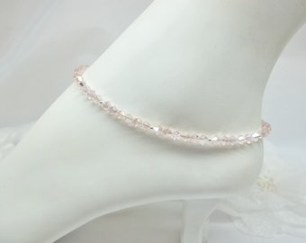 Pink Crystal Anklet Pink Anklet Pink Ankle Bracelet 100% 925 Sterling Silver Anklet Body Jewelry Ankle Jewelry BuyAny3+Get1 Free
