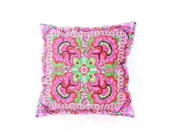 Cushion Cover HMONG Hill Tribe Thailand FAIR Trade Handmade Pink Birds (CS010-BF)