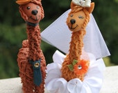 "Llama wedding cake topper with personalized banner, custom bride and groom more than 6"" tall"