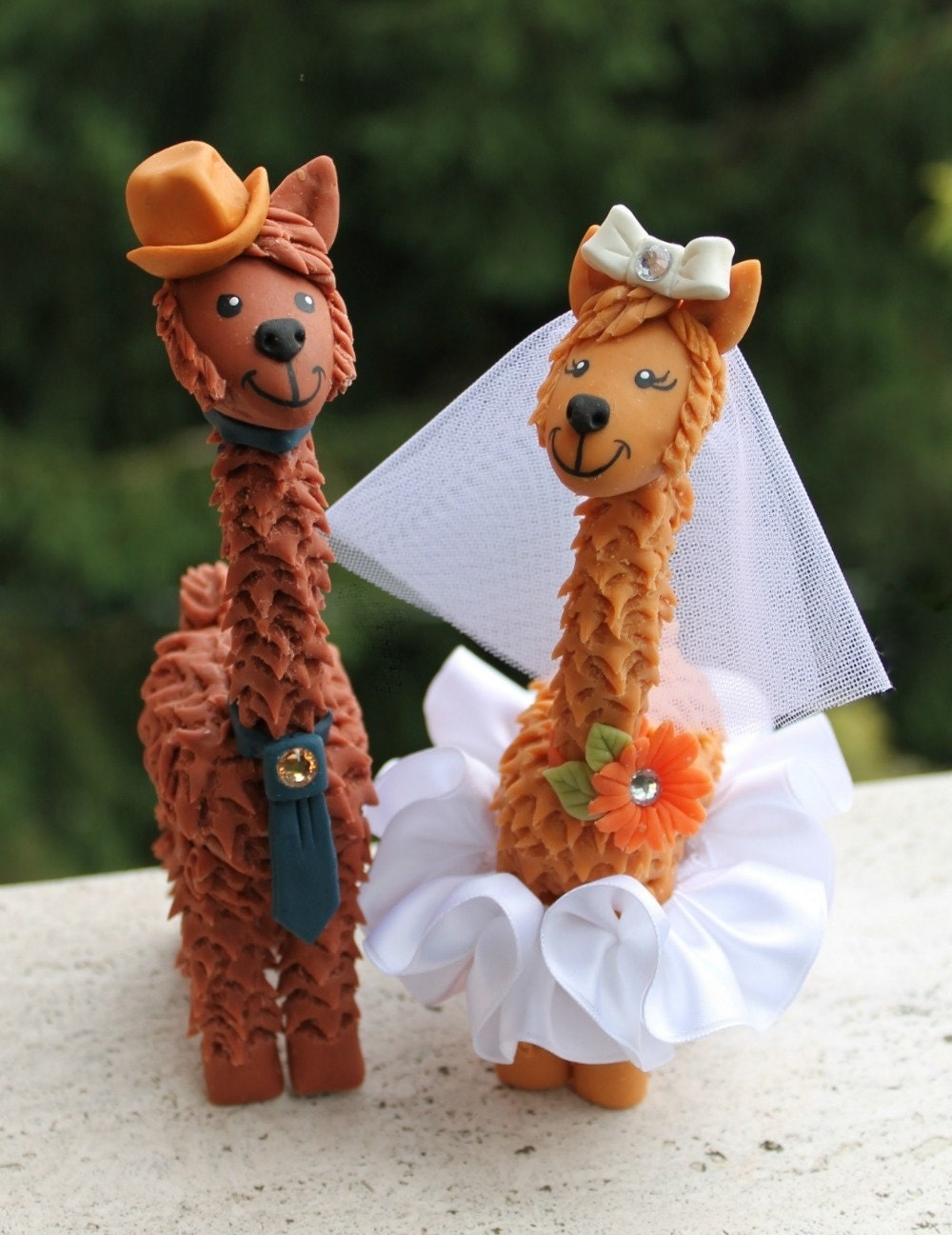 Llama wedding cake topper with personalized banner custom