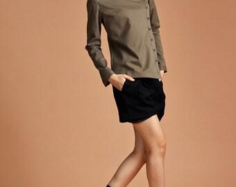 Green Shirt Blouse - Asymmetrical Shirt - Cotton Shirt - Free Shipping