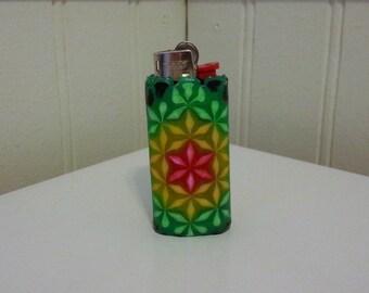 MINI Bic Rasta Flower of Life Perler Bead LIGHTER CASE - rasta - 420 - cannabis - sacred geometry