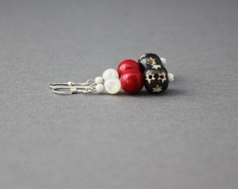 star dangle earrings pink gemstone earrings silver stardust earrings mother of pearl earrings moroccan earrings