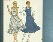 Vintage 1980s  Butterick 4205 Country Western Swing Sun Dress with Ruffled Tier Sizes 12 14 16 UNCUT