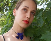 Blue bird  necklace , ceramic jewelry , ceramic  pendant.