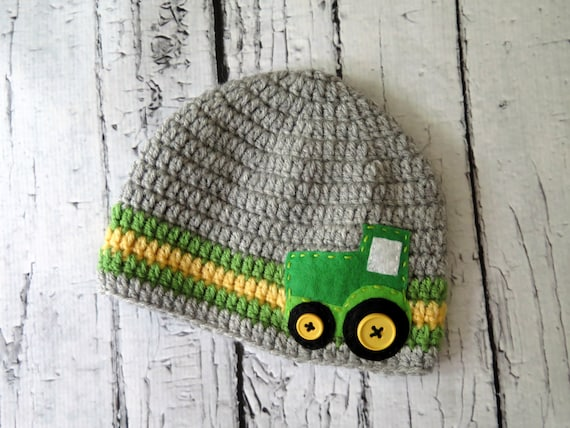 Tractor/Farming Crochet Boy Hat with Felt by HunkyDoriBoutique