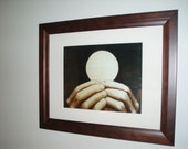 RESERVED FOR A.L.  Catholic Wood-Burning Framed Photo Print of The Eucharist Being Elevated By a Priest During the Consecration