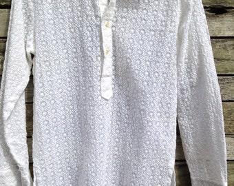 1960's White Sheer Flocked stitched Shirt split sides