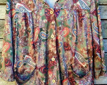 1970's 'Vicki Wayne' Green and Brown Paisley Button Down Blouse with Hip Pockets