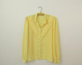 On Sale Vintage 1970s Lemon Yellow Chiffon Prairie Blouse - Medium Large by Esprit