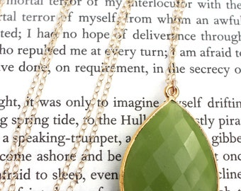 Green Chalcedony Pendant Long Gold Plated Necklace