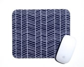 Herringbone Mouse Pad / Chevron Navy Blue and White / Rectangular Mousepad / Office Home Decor