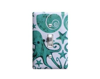 Octopus Light Switch Plate Cover / Nautical Bathroom Decor / Aqua Teal White / Under the Sea