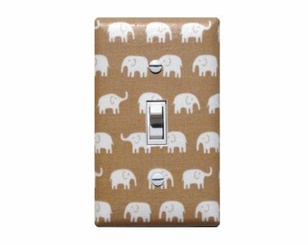 Elephant Light Switch Plate Cover / Tan Light Brown and White Baby Boy Nursery Decor / Slightly Smitten Kitten
