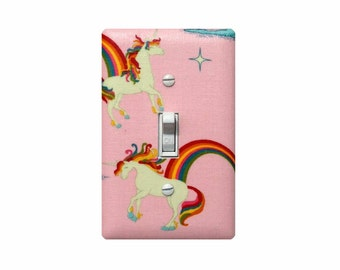 Unicorn Light Switch Plate Cover / Pink Girls Room Bedroom Bathroom Nursery Decor / Riley Blake Unicorns & Rainbows