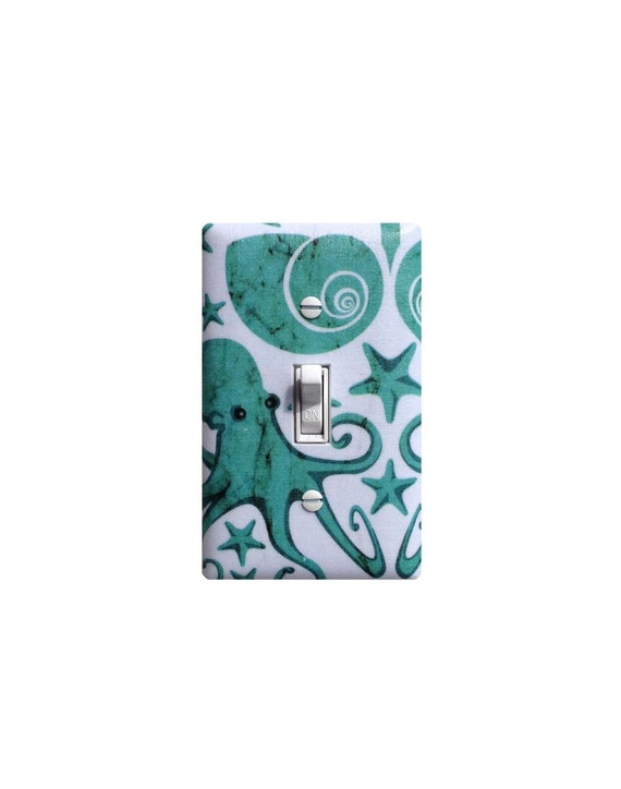 Octopus Light Switch Plate Cover Nautical Bathroom Decor Aqua Teal