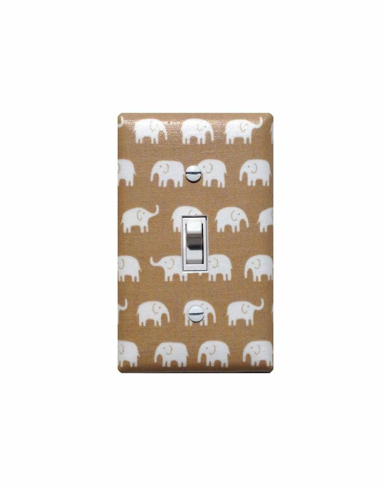 Elephant Light Switch Plate Cover Tan Light Brown And White