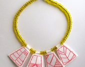 Embroidered geometric necklace hot pink pendants with transparent yellow Native American trade beads with Ethiopian amber toggle