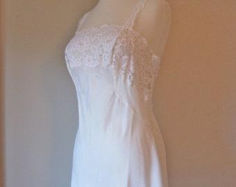 OLGA Lace Nightie Slip Camisole Silky Nylon White Satin Mini 36