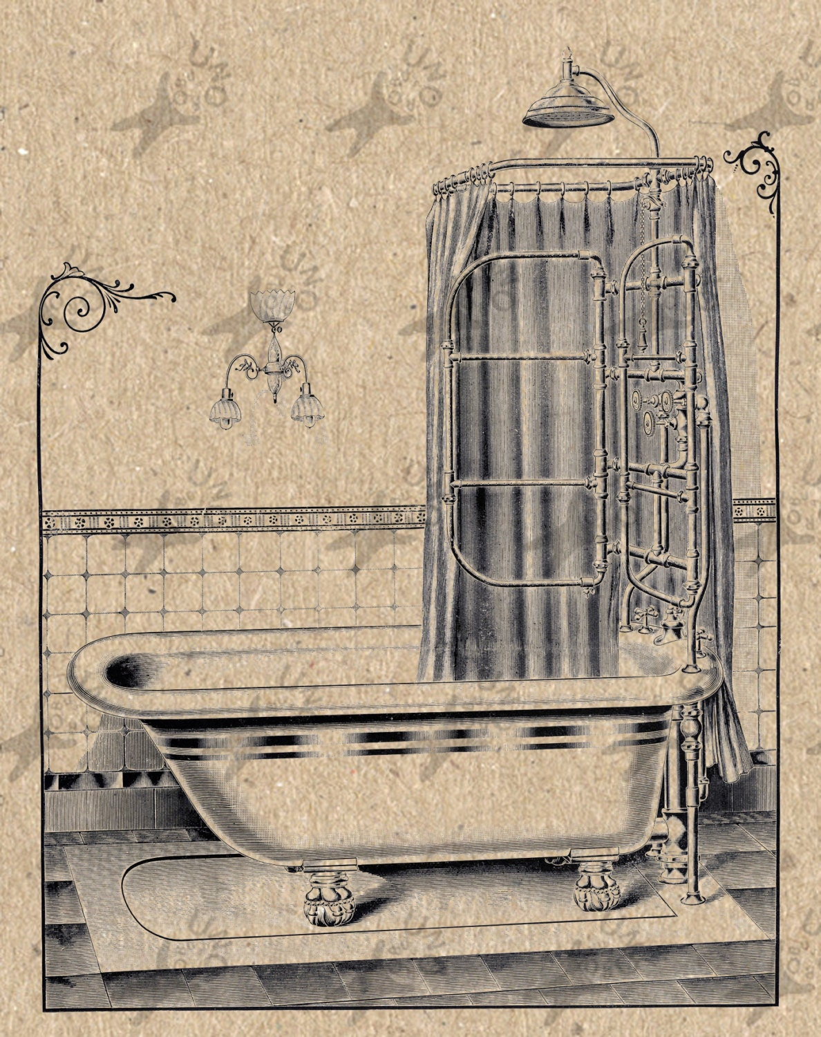 Vintage image bath bathroom instant download digital printable for Vintage bathroom printables
