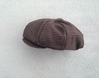Made to Order: Baby Newsboy Hat, Houndstooth, Baby Newsboy Cap, Baby Boy Hat, Paper Boy Hat, Newsy Cap, Vintage type hat, kids newsboy
