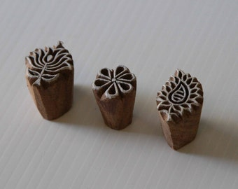 Indian Wood Stamps - Set of 3 - Patterns [4] - Wood Block Printing - India