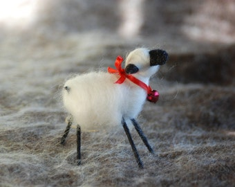 Needle Felted Sheep Ornament, Christmas Ornament, Handmade Wool Ornament, Your Choice of Color