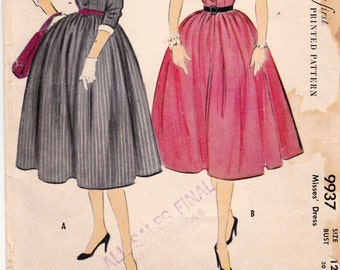VINTAGE 1954  McCALLS Prim and Proper Dress Pattern 9937 SZ 12  Misses  Nice Neat Condition Complete